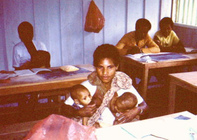 Mom with twins in class