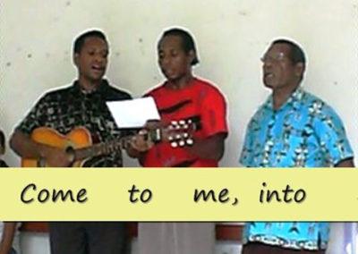 Matius, Niko, and Essau singing new Berik hymns