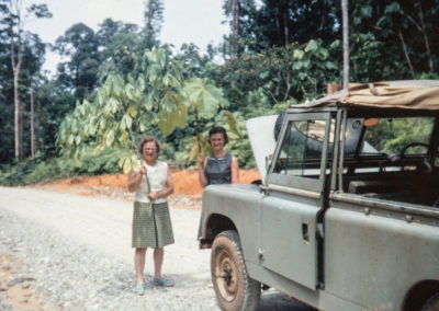 Mom Westrum and Sue with the open air Land Rover
