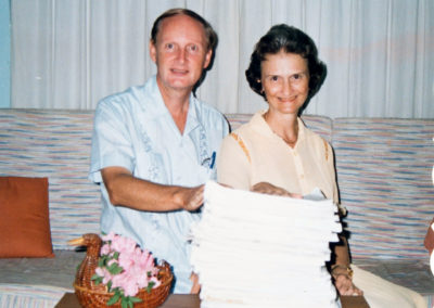 Peter and Sue with first printout of the Berik New Testament