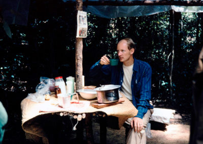 Peter enjoying fresh rolls for breakfast