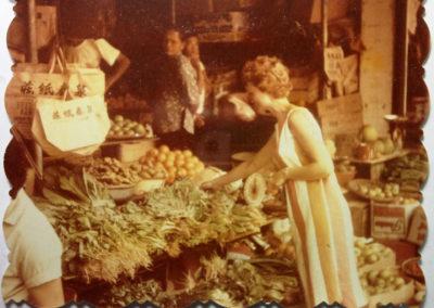 Sue grocery shopping in Sandakan