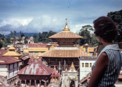 Sue overlooking Hindu temples in Nepal