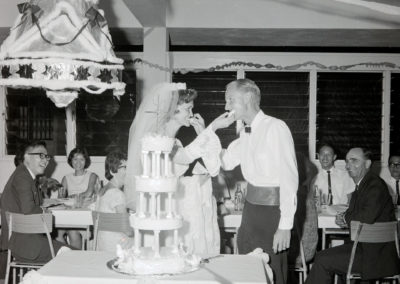 Sue saved the cake pans to use for their 50th anniversary